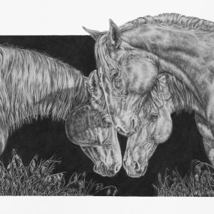 """Three's A Bond"" 8 x 11.5"" Original Graphite Pencil"