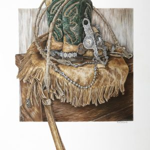 """Western Still Life"" 18 x 24"" Original colored Pencil - private commission"