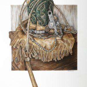 """""""Western Still Life"""" 18 x 24"""" Original colored Pencil - private commission"""