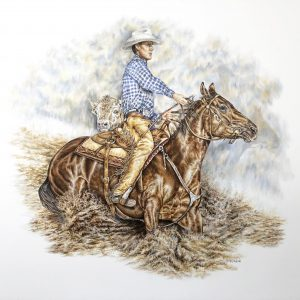 """Working Cow Horse"" 18 x 24"" original colored pencil - private commission"