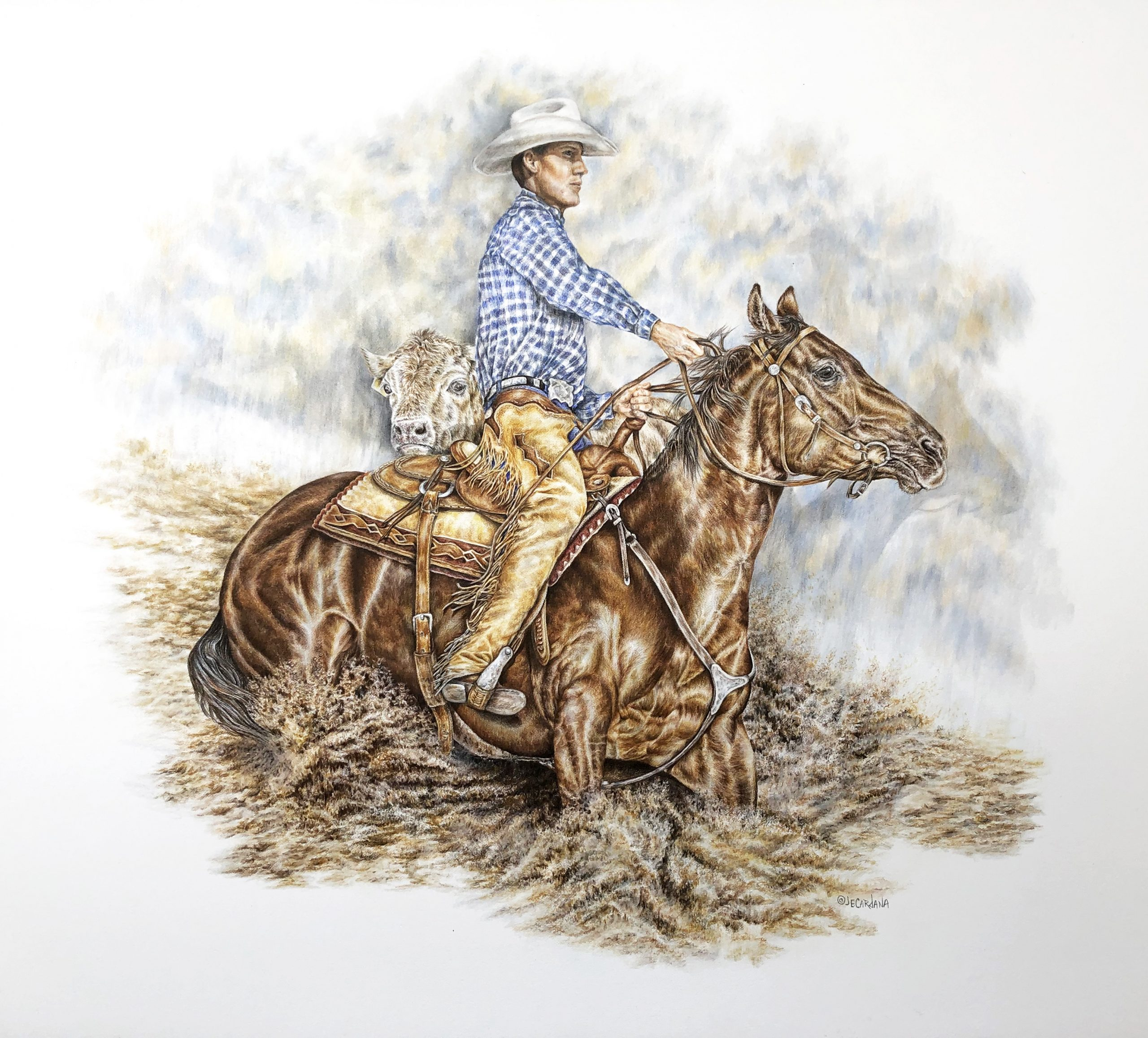 """""""Working Cow Horse"""" 18 x 24"""" original colored pencil - private commission"""