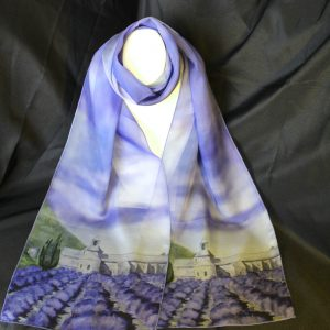 "Abbaye de Senaque Silk Watercolor Art Scarf 70"" x 12\"", $59.00"