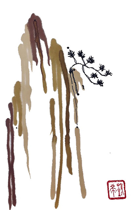 """Sumi-e """"Dramatic Clinging"""" watercolor and Sumi (ink) on Xuan"""