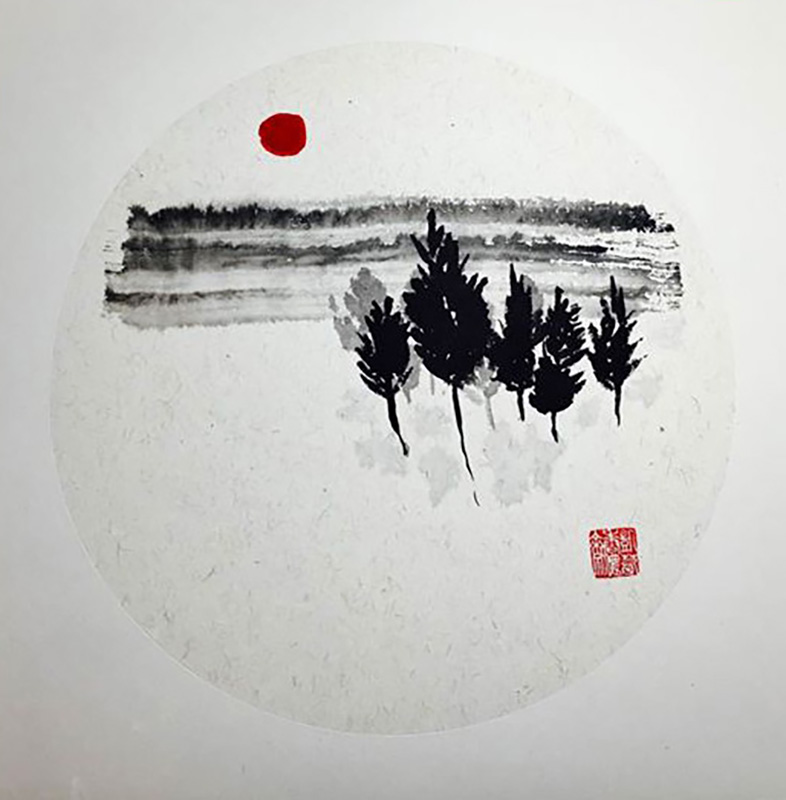 """Sumi-e """"Red Moon over Forrest"""" Sumi (ink) brushed on Shikishi Board"""