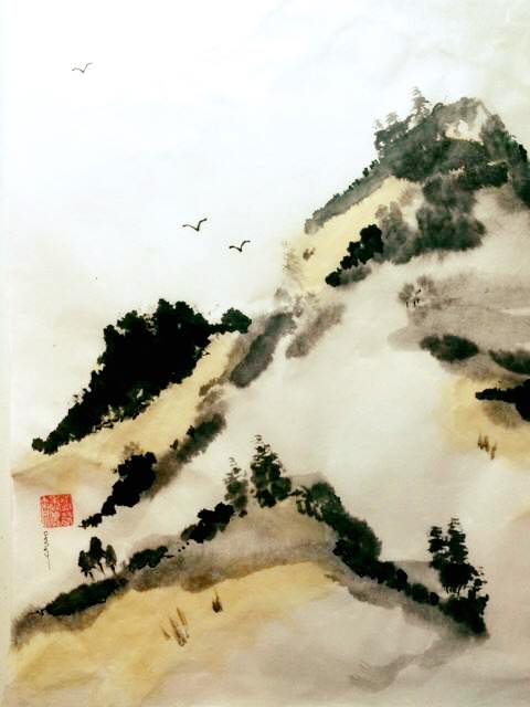 """Sumi-e 'Autumn on the Mountain"""" Sumi (ink) and Watercolor on Xuan"""