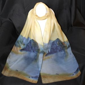"Haystack Rock Silk Watercolor Art Scarf, 70"" x 12\"", $59.00"
