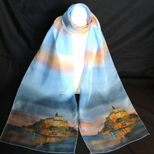 "Mont St-Michel Silk Watercolor Art Scarf, 70"" x 12\"", $59.00"