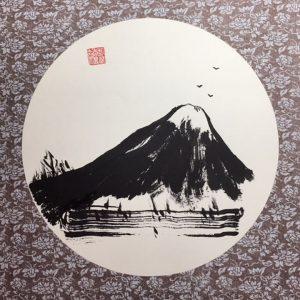 "2019 Award Winner at the Sumi-e Society of America. ""Mountain Music"" Sumi (ink ) brushed on Shikishi Board"