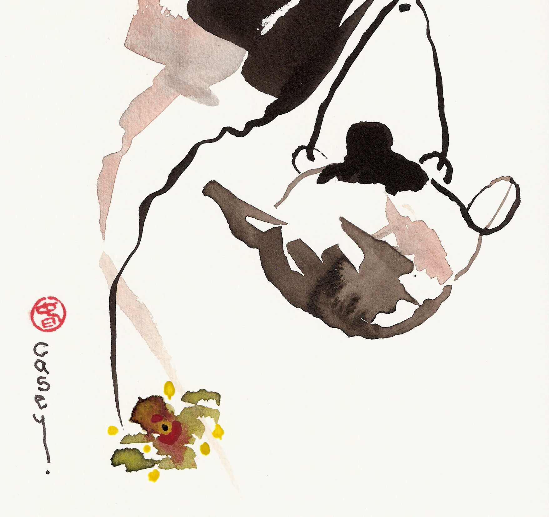 Sumi-e 'Orchid Tea' (sumi (ink) and watercolor. East meets West.