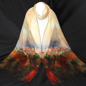 "Roussillon Silk Watercolor Art Scarf, 70"" x 12\"", $59.00"