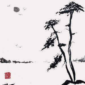 Sumi-e 'Silence' Sumi (ink) brushed on Shikishi Board