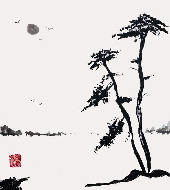 Sumi-e 'Silence' Sumi (ink) brushed on Shikishi Board