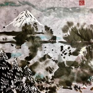 "Excellence Award at the Healing Power of Art Exhibition 2020, ""Winter"" Sumi (ink) and watercolor on Xuanr"
