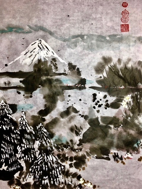 """Excellence Award at the Healing Power of Art Exhibition 2020, """"Winter"""" Sumi (ink) and watercolor on Xuanr"""