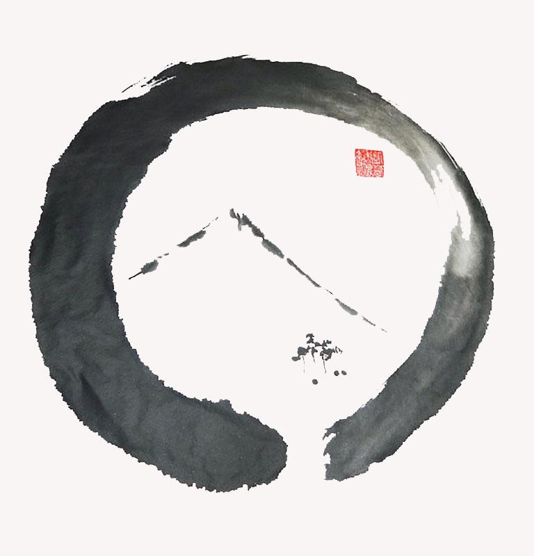 Ensō Noble, Sumi (ink) brushed on Shikishi Board