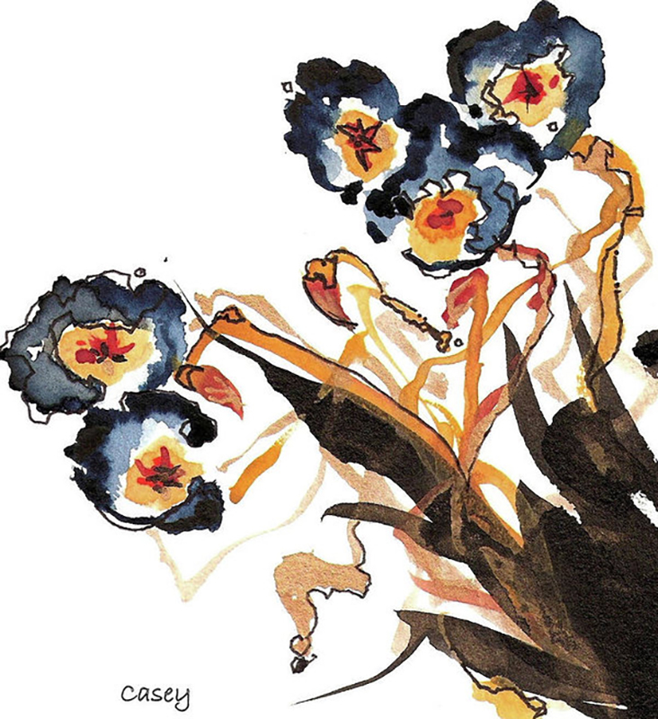 Sumi-e 'Golden Rods Dancing' Sumi (ink) and watercolor on Xuan