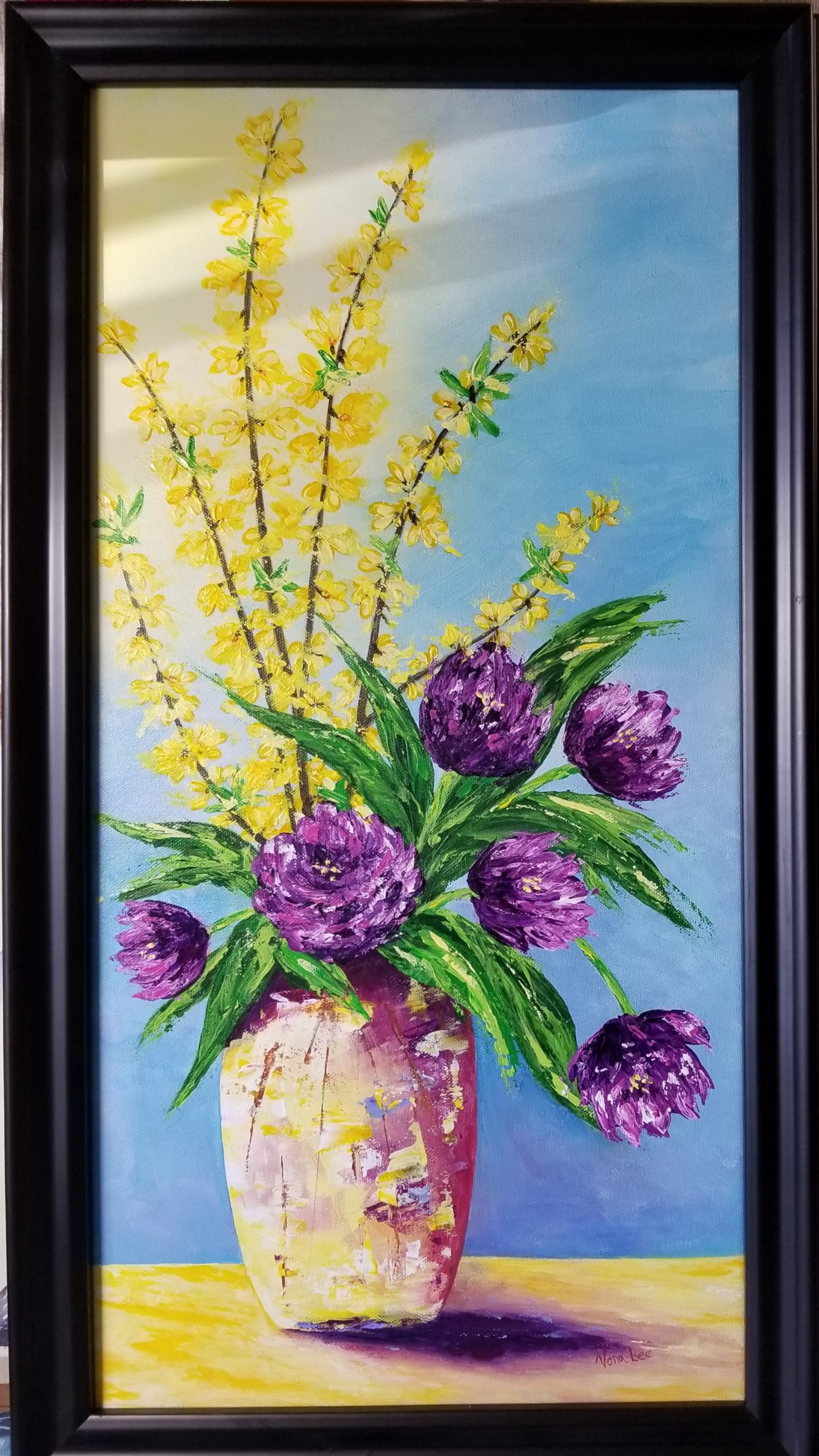 """""""Early Blooms"""" Acrylic 16""""x 28"""" $150.00"""