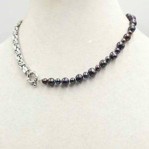"#00747. Unisex, Sterling silver & black pearl necklace on silk.  17.5"" Length. $129"