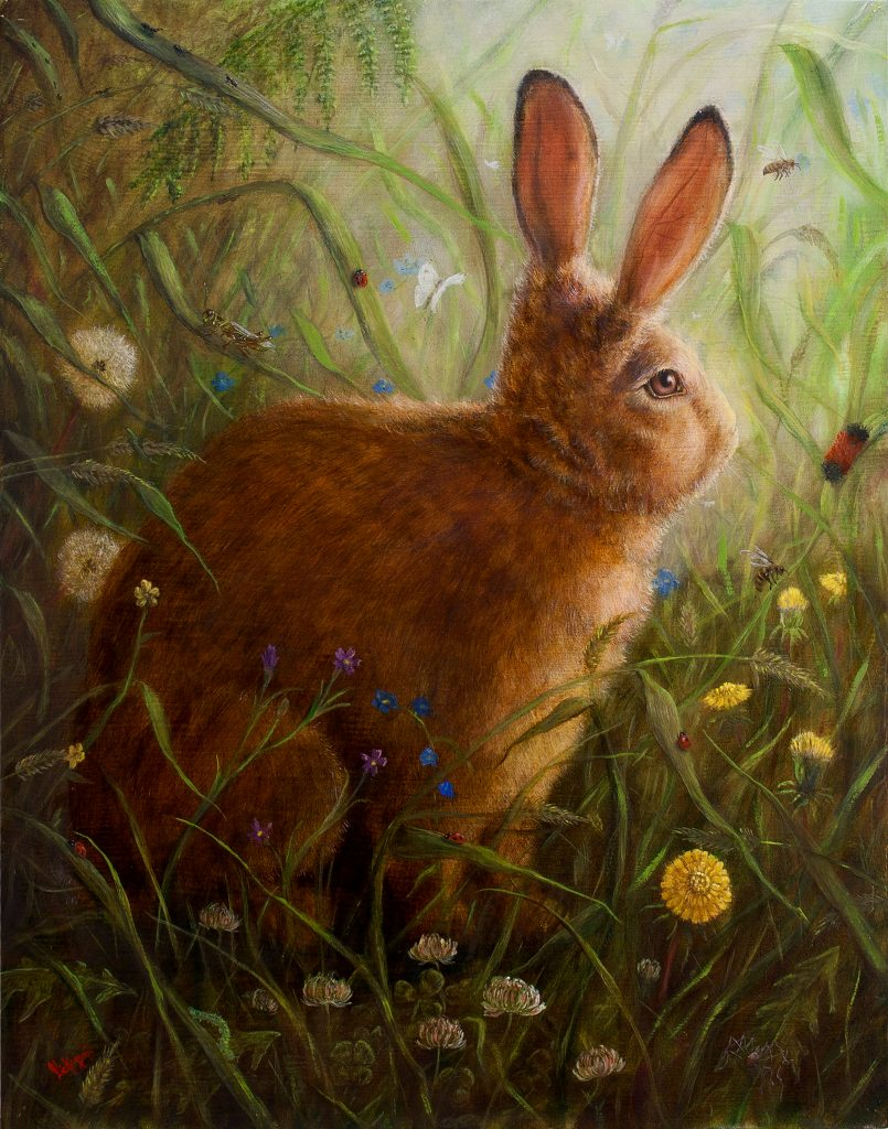 oil painting of a bunny looking to the right among grasses and flowers by Lucas Nickerson