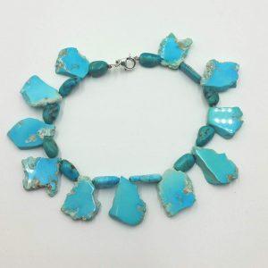 #00036. Vegan-wear jewelry! Howlite, turquoise, sterling silver XL fringe bracelet. $28