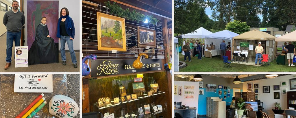 photo collage showing Three Rivers Artist Guild's work in the community